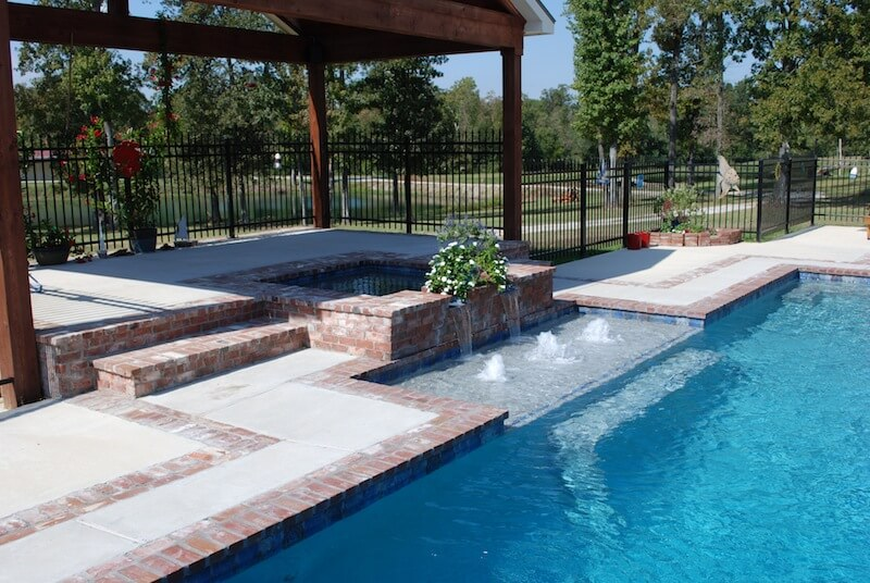 classic gunite pool with antique brick coping square - Gunite Pool Design Ideas