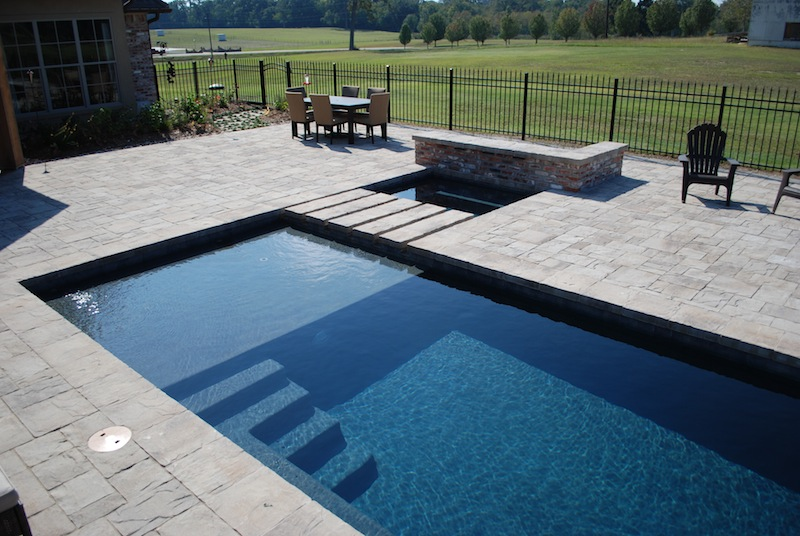 Contemporary Gunite Pool With Tanning Ledge Dark Diamond