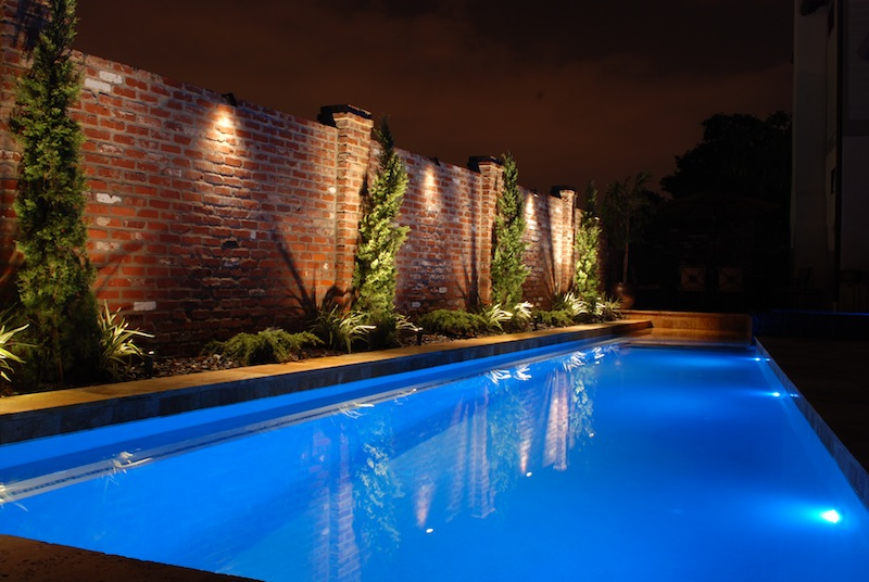 Gunite pool with led pool lights gold travertine coping antique gunite pool with led pool lights gold travertine coping antique brick wall diamond brite blue quartz plasterg 800536 custom swimming pool aloadofball Image collections