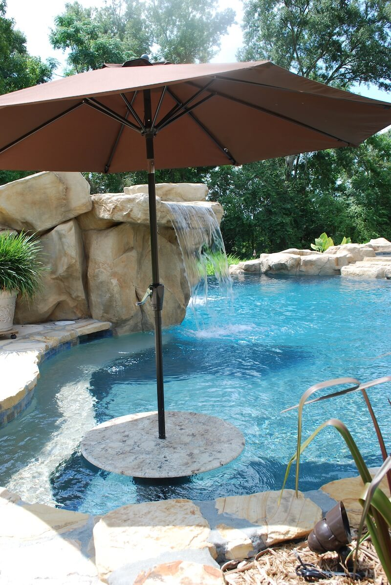 Gunite Pool With Granite Cocktail Table Rico Rock